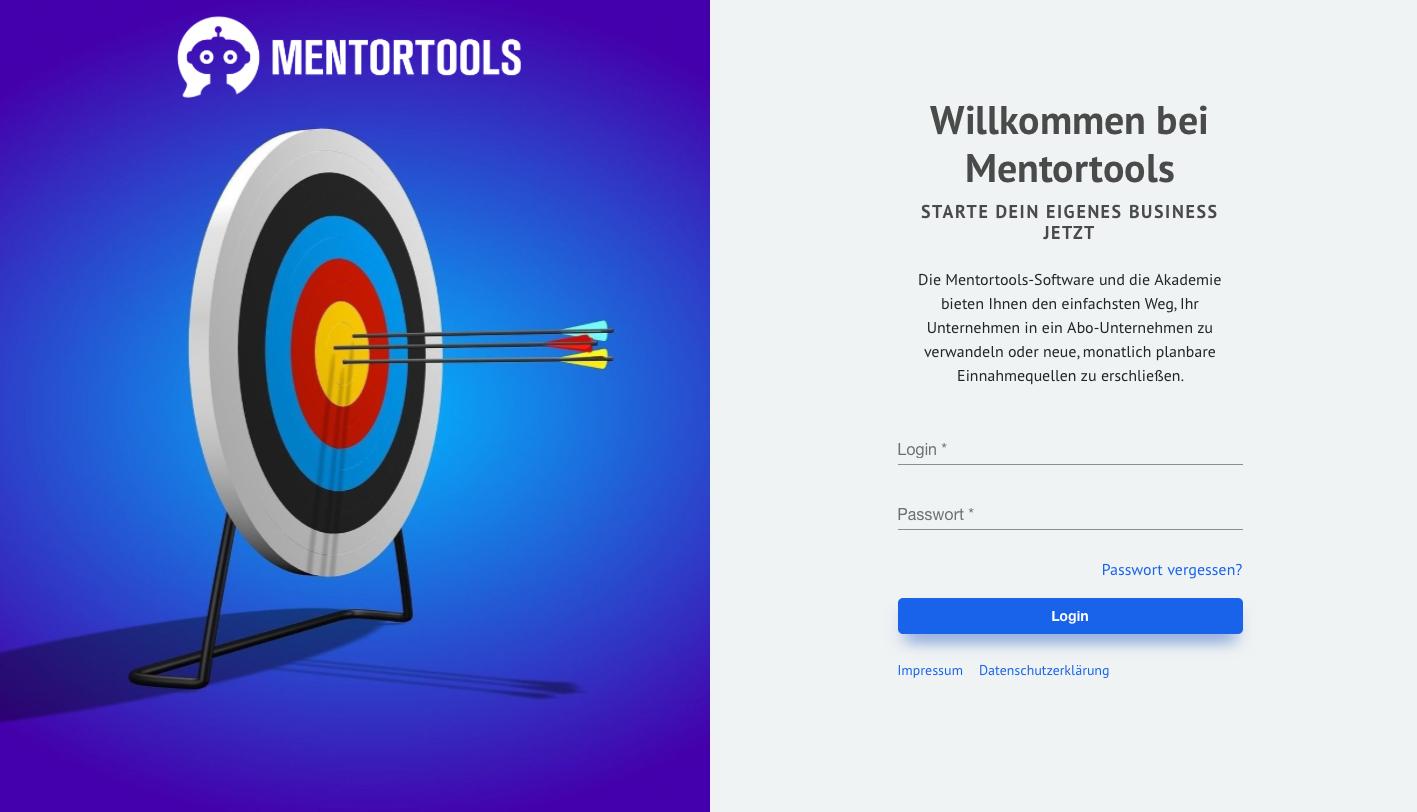 Mentortools - Login - Seite - Mitgliederbereich