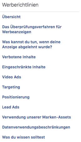 facebook werberichtlinien übersicht