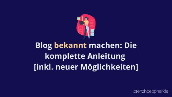 blog bekannt machen